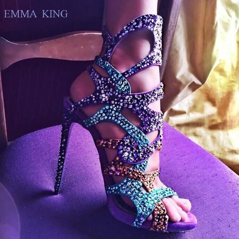Laser de luxe Bling Bling cristal sandales femmes talons aiguilles mode dames chaussures de fête d'été femmes bout ouvert bottines