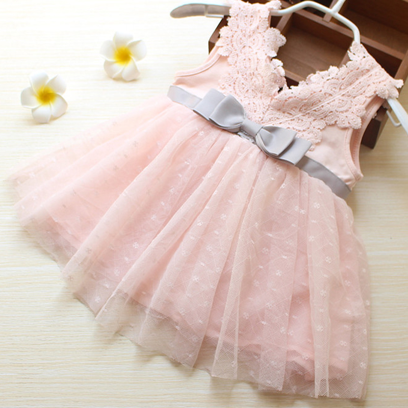 My Little Girl Lace Party Dresses 2018 New Toddler Mesh tutu Princess Dress Infant V-neck Button Baby Baptism Dress Kids Cloth