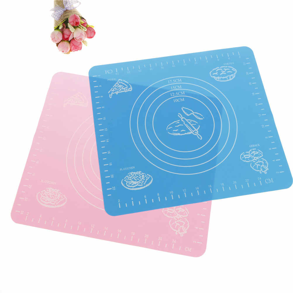 2018 Fashion Placemat Silicone Kneading Mat Cut Fondant Cake Clay Pastry Icing Dough Kitchen Tool Party Dinner Clean Tableware