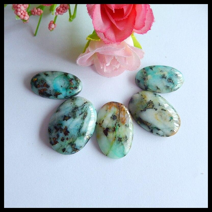 Wholesale gemstone 5 PCS Natural Blue Opal fashion jewelry necklace Cabochons,26x17x5mm,22x12x5mm,16.8g
