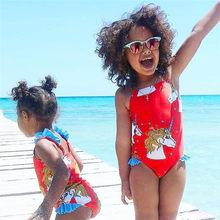 6M-5Y Kid baby Girl Bonito Unicórnio Dos Desenhos Animados Swimwear One  Piece Maiô Vermelho para as meninas Verão beachwear 2018. 472003e1567