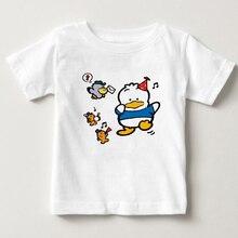 2018 childrens T-shirt 3-15 year old boy and girl cute cartoon little duck print S-3XL size children