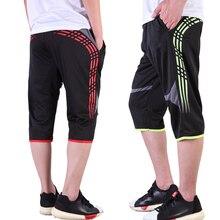 Летние мужские футбольные тренировочные штаны, быстросохнущие футбольные укороченные штаны 3/4, мужские спортивные брюки для бега, фитнеса, спортивные брюки с карманами на молнии