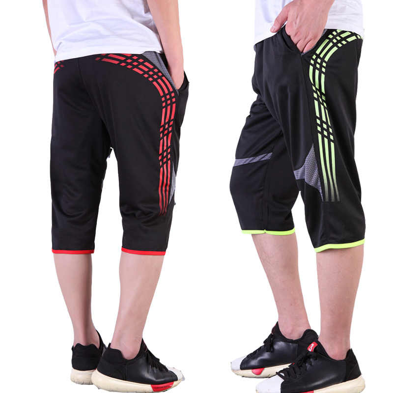 e8f09cdc46e Summer Men Soccer Training Pants Quick-Dry Football Cropped 3 4 Pant Male  Sports