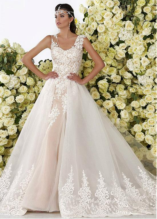 77cc7e472a6 Mermaid Wedding Dresses Wedding Gowns Romantic Tulle Scoop Neckline 2 In 1  Wedding Dresses With Lace Appliques WED90298