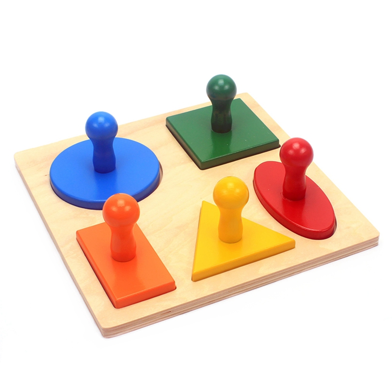 alta qualidade montessori materiais auxiliares de ensino brinquedos geometria forma solide madeira cinco tipos de formas