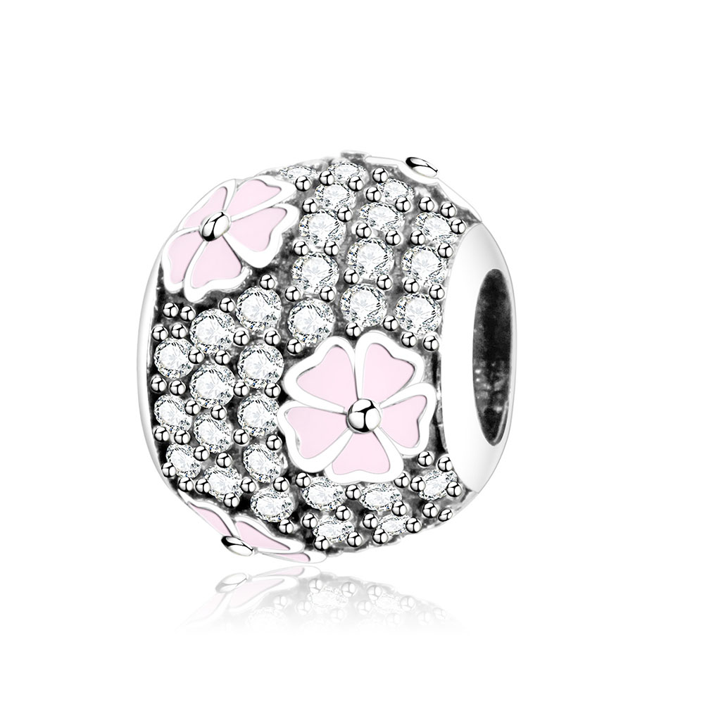 2017 Summer Flower Charm With Pink Enamel And CZ Fit Original Pandora Charms Bracelet 925 Sterling Silver Beads Jewelry Making
