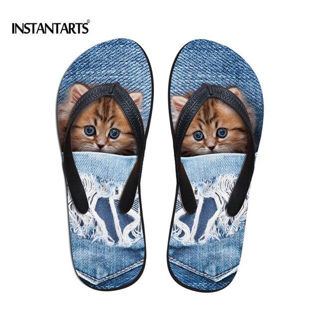 ef80127b417ef INSTANTARTS Cute Animal Cat Flip Flops for Women Summer Beach Female  Non-slip Flipflops 3D Blue Denim Pocket Print Home Slippers