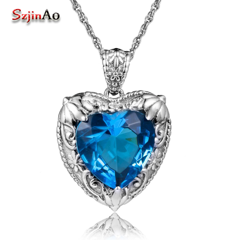 Szjinao Fashion 100% Silver 925 Jewelry Pendant For Women  Necklace Heart Of Ocean Blue Topaz European Necklace Pendant
