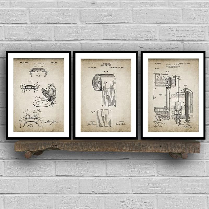 Bathroom Patent Vintage Posters Prints ,Toilet Roll,Cistern,Lavatory Design,Loo Canvas Painting Blueprints Home Wall Art Decor