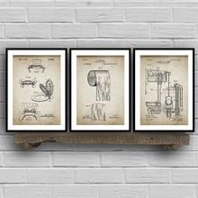 Pósteres impresos Vintage de patente de baño, rollo de inodoro, cisterna, diseño de lavabo, lienzo de baño pintura planos Arte de la pared Decoración para el hogar