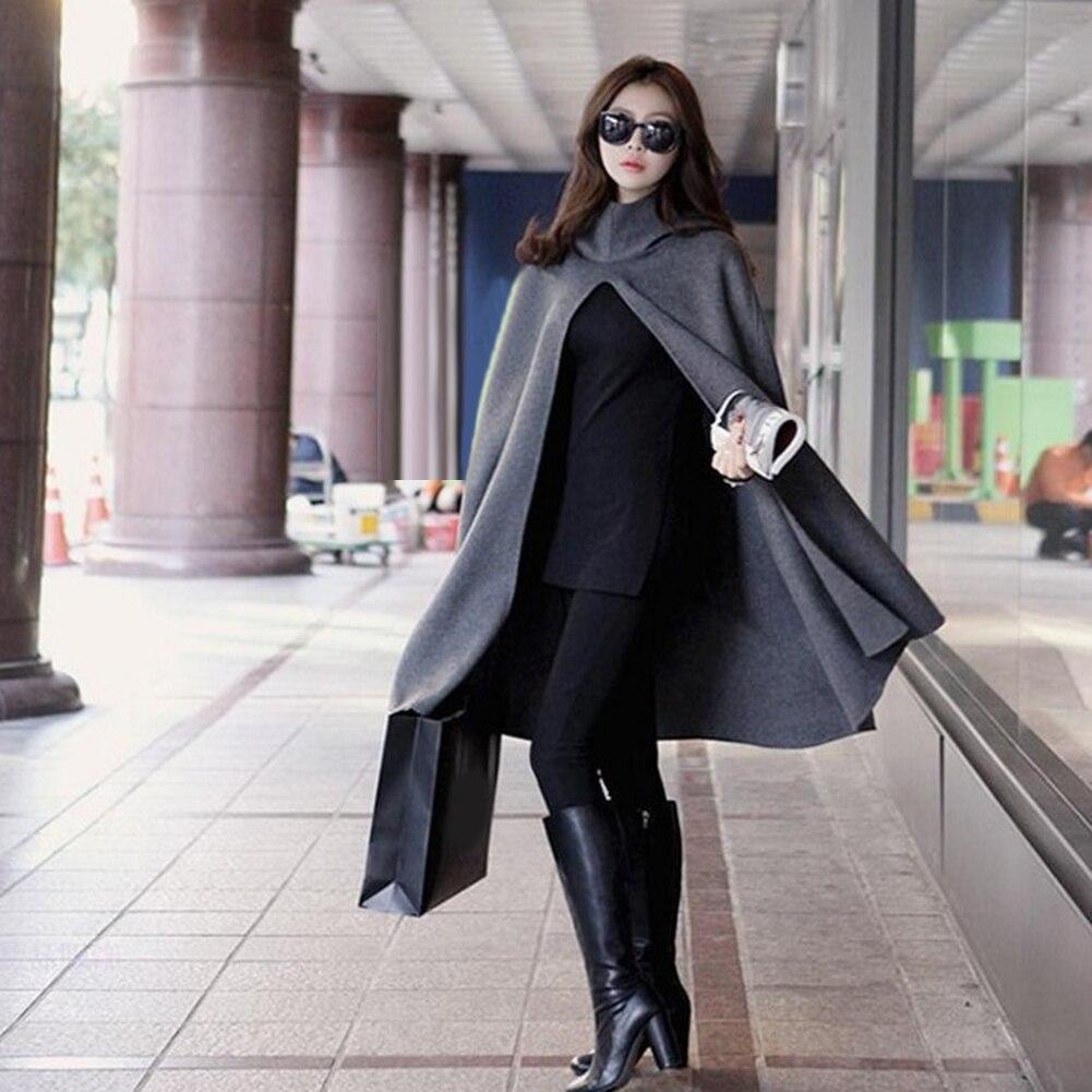 Hooded Cloak Woolen Wind Coat Women Long Cape Fashion Outwear Loose Overcoat
