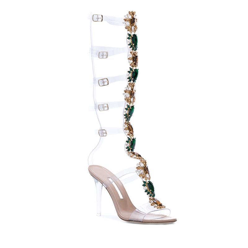 641e1dbe8 AZMODO Rhinestone Stiletto Heel Strappy Buckle Dress Sandals women ...