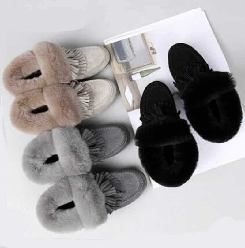 SWYIVY Kar Botları Kadın Tavşan Kürk Rahat Kış Kadın Sıcak Kürk Kar Botları Ayak Bileği Hakiki Deri Püskül Kar Botları 40