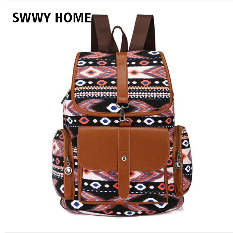 School Bag Bohemian Vintage Women Backpack Drawstring Printing Canvas Bagpack Travelling Bag Sac A Dos Femme Rucksack Female New