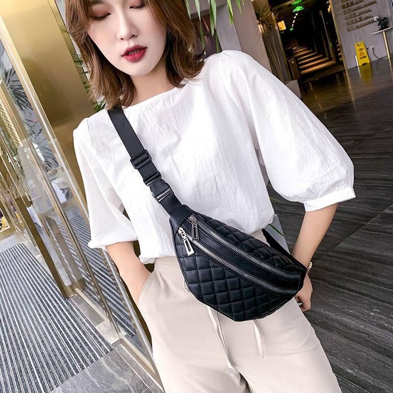 Plaid Women's Waist Bag PU Leather Belt Bags Designer Shoulder Messenger Chest Bag Female Fashion Fanny Pack Banana Hip Purse