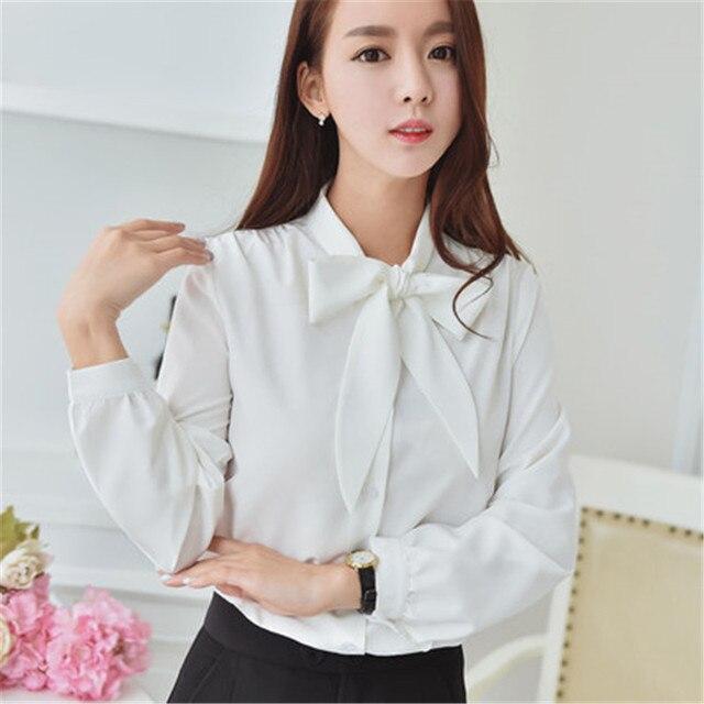 367029594 € 30.6 |Blusa de chifón de manga larga elegante para mujer con lazo blanco  a la moda ropa de trabajo ZY4486 en Blusas y camisas de Ropa de mujer en ...