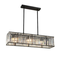 Crystal Chandelier Black Bronze Hanglamp Modern Chandelier with 3 Lights Dining Room Light Fixtures E27 Led Industrial Lamp