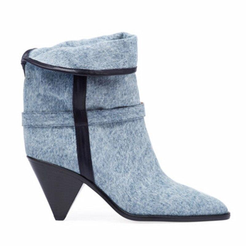 Haut Femme Bout Pointu Chaussons Femmes Cowboy Spike Bleu New As over Créateur De Picture Col Fold 2019 Bottines Denim Chaussures Court Talon xoCrBed