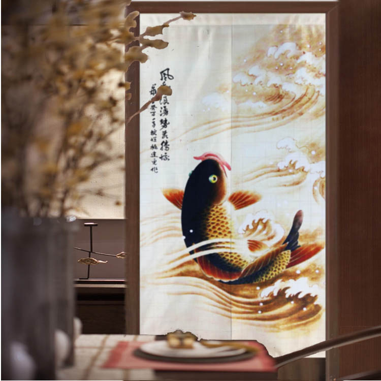Nice Rideaux Chinois style d'or carpe porte rideau feng shui tissu rideau cuisine toilettes partition chambre porte rideau