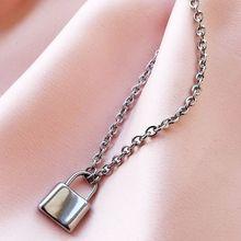 Hip Hop PadLock Pendant Necklace Titanium Steel Rolo Cable Chain Fashion Jewelry