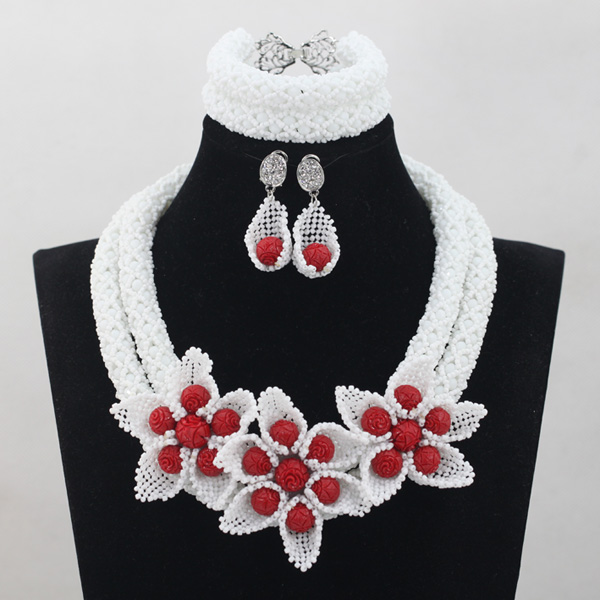 Fantastic White Beads African Jewelry Sets Red Bead Balls Indian Bridal Costume Jewelry Set 2017 Hot Free Shipping WD773Fantastic White Beads African Jewelry Sets Red Bead Balls Indian Bridal Costume Jewelry Set 2017 Hot Free Shipping WD773