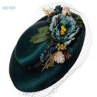 BRITNRY Fashion Wedding Hat Elegant Flowers Green Bridal Hat With Veil