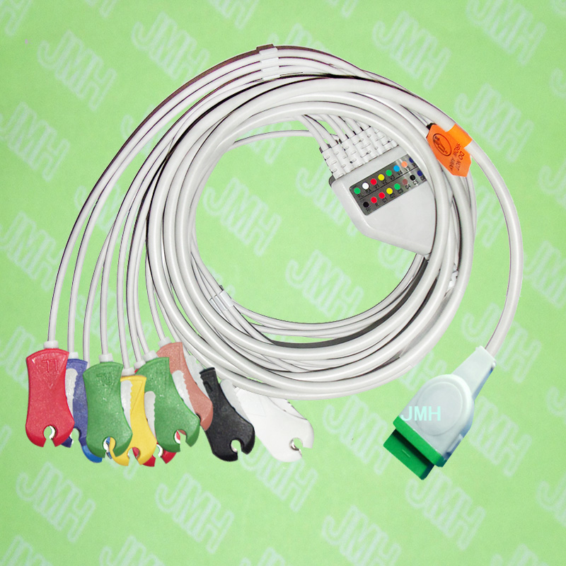 Compatible with 11 pin GE,Solar,Dash,Tram,Datex Ohmeda EKG Machine,One-piece 10 lead cable and clip leadwires,IEC or AHA. keyboard suitable for ge datex ohmeda 7100 panel keyboard