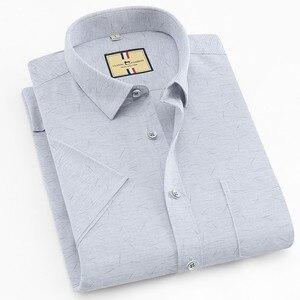 Image 4 - เนื้อหาผ้าฝ้ายแขนสั้นฤดูร้อนสบายธุรกิจผู้ชายลายสก๊อตลำลองเสื้อปกติFitเปิดลงปก