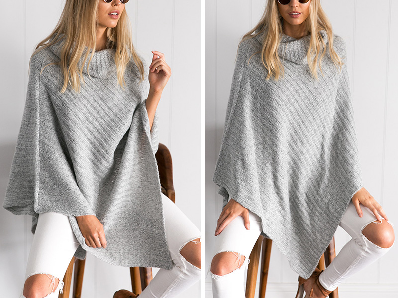 Bat wing Poncho Sweater | Ponchos and Capes | Up to 60% Off Now
