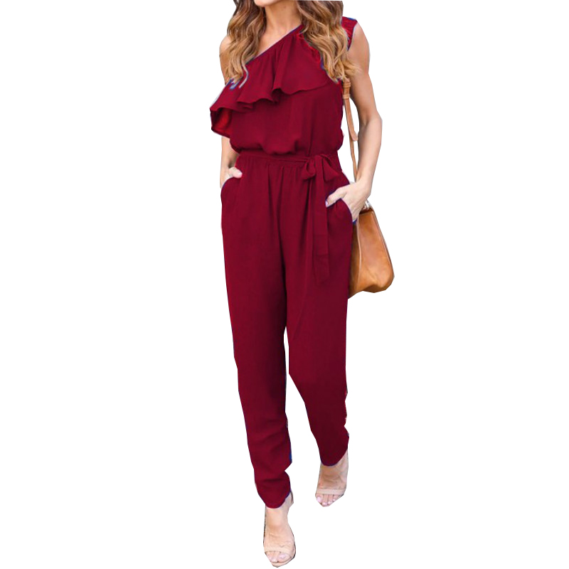 Ruffles Chiffon Jumpsuits Plus Size Overalls Summer Women Sexy Casual One Shoulder Long Playsuits Rompers Womens Jumpsuit GV608