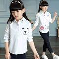 2016 Autumn Baby Girls Tops Blouse Children Cotton Long Sleeve School Uniform Children Clothing Kids Princess Lovely White Shirt