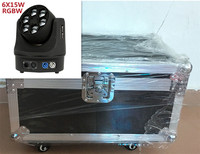 2 unids 6x15 W + кейс + 1.2 м кабель DMX RGBW 4in1 Мини светодиодный Viga стирка abeja ojo Кабеза movil DJ Luz