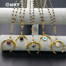 WT-N961 Wholesale Custom Multiple Natural Stone Pendant Necklace With Black Beads Rosary Chain For Fashion Jewelry Making
