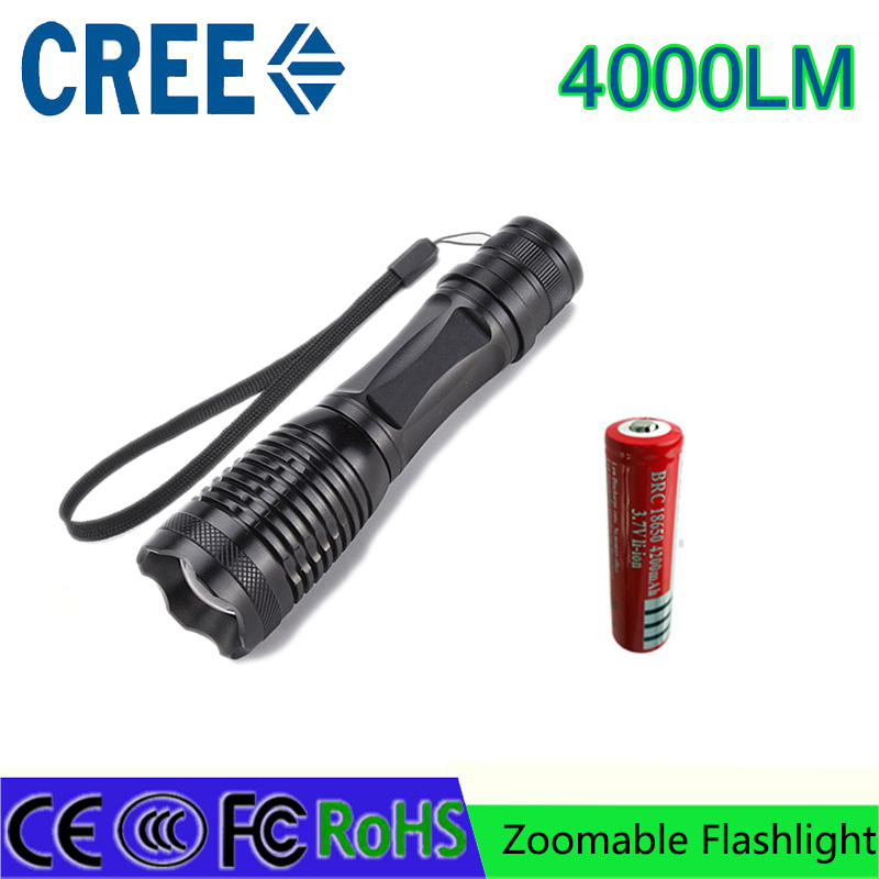 led flashlight torch XM-L T6 4000 lumens CREE adjustable lighting torch for AAA and 4200mAh 18650 battery rechargeable torch e17 cree xm l t6 4000 lumens led flashlight torch adjustable lights