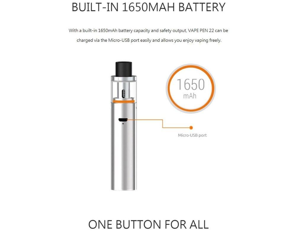 SMOK Vape Pen 22 Kit Vape Pen 22 Tank 0 3ohm Dual Core with Built-in  1650mah Battery with LED Indicator electronic cigarette