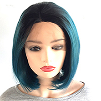 Ombre Blue Mixed with Green Synthetic Lace Front Wig with Black Roots, Short Bob Wig with Middle Parting Heat Resistant Hair Wig for Women-3