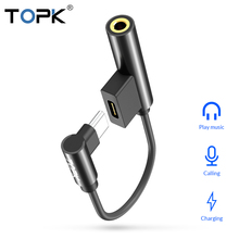 TOPK 2 in 1 Splitter Headphone USB Type C to 3.5mm Aux Audio Jack Adapter Cable  for Xiaomi Redmi Note 7 Huawei Samsung