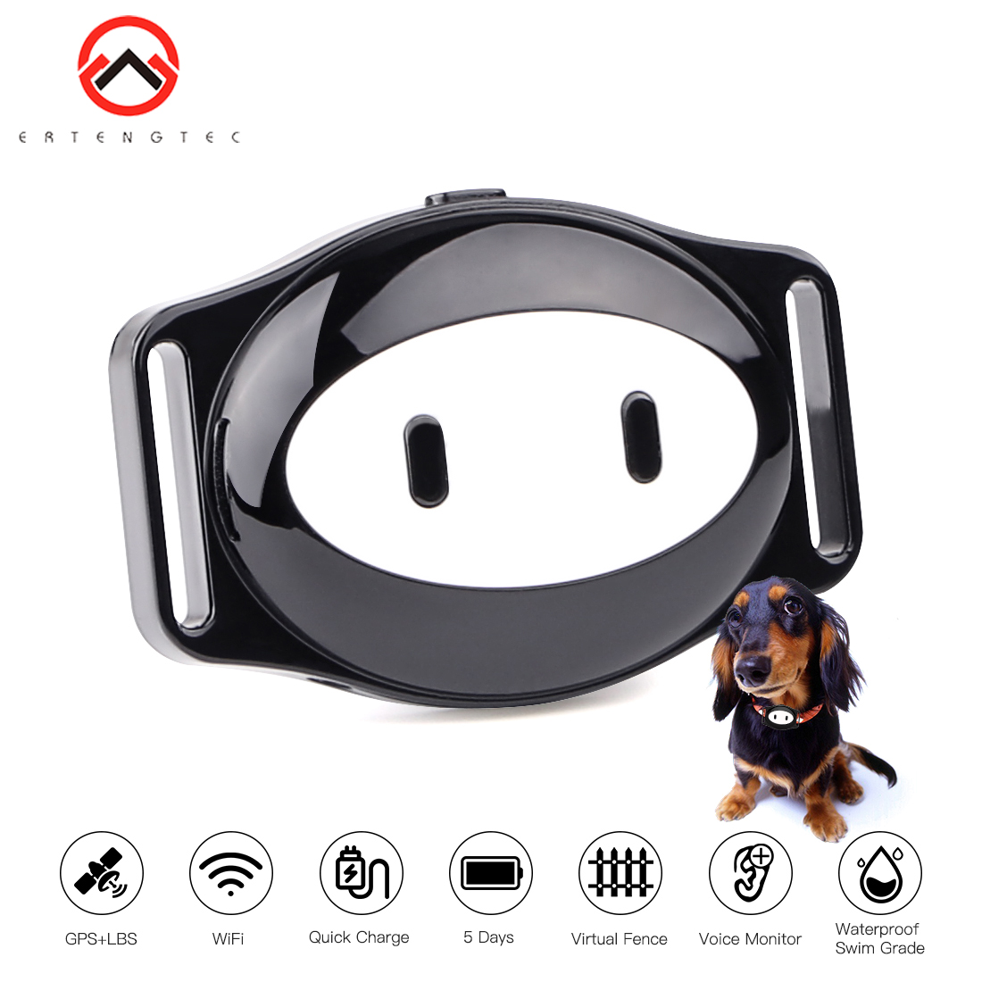 Pet Tracker Waterproof IP68 Collar Dog GPS WiFi Realtime Tracking Remote Voice Call Geo fence Longtime