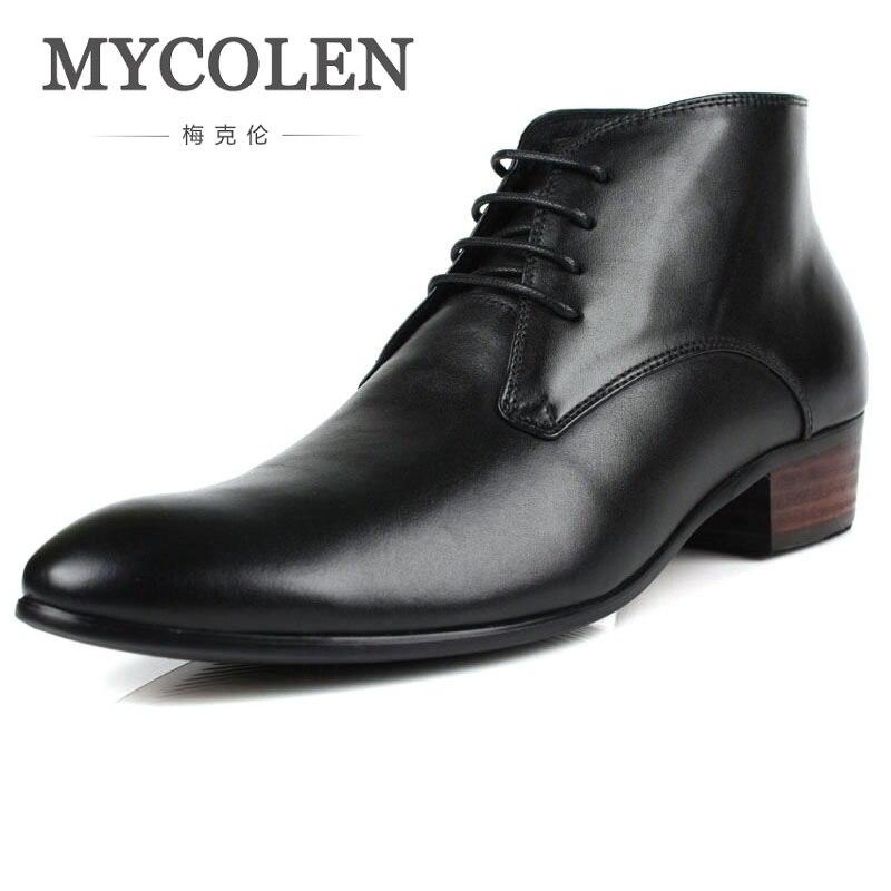 MYCOLEN Aumento da Altura Botas de Vestido Dos Homens de Couro Genuíno Marca de Luxo de Alta Qualidade Ankle Boots Sapatas Dos Homens Para O Casamento de Negócios