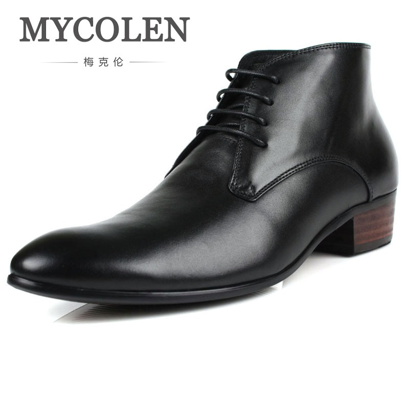 MYCOLEN Brand Luxury Height Increase Mens Dress Boots Genuine Leather High Quality Ankle Boots Men Shoes For Business Wedding