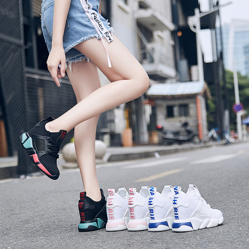 Tissé léger respirant à l'intérieur rehaussent les baskets haute plate-forme noir baskets femmes chaussures décontractées blanc cassé chaussures à semelles compensées
