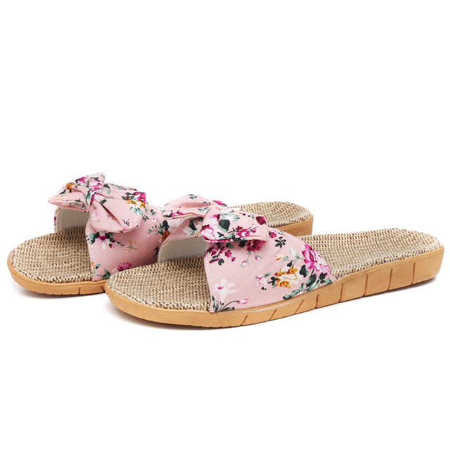 Slipper Indoor Outdoor Flip Women Female Bohemia Bowknot Flax Linen Flip Flops Beach Shoes Sandals Slipper обувь женская#116GP 2