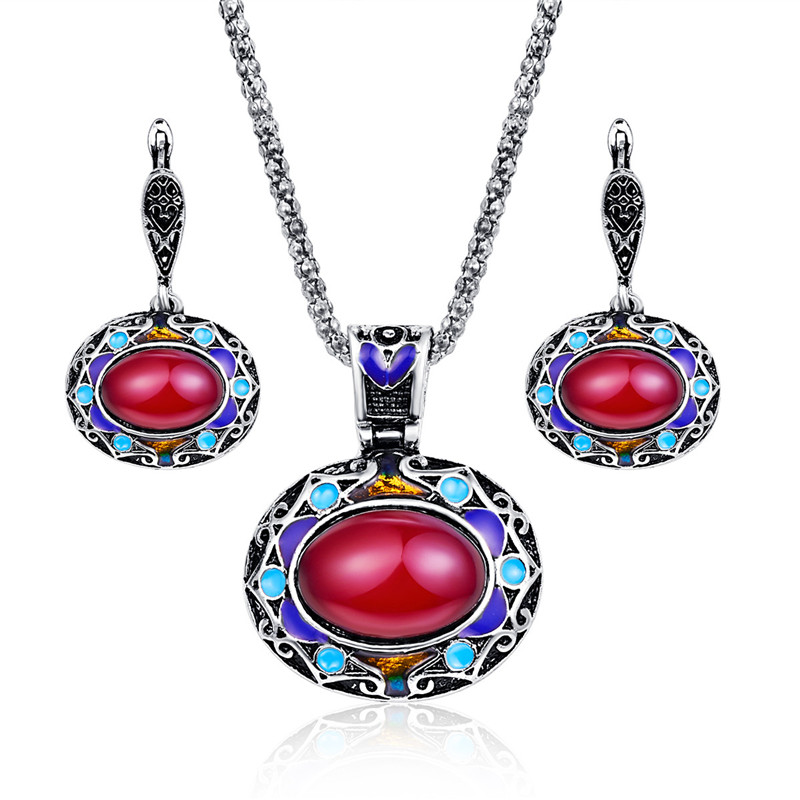 Bohemian Jewelry Sets For Women Antique Silver Color Colorful Enamel Big Red Resin Stone Pendant Necklace And Earrings Set