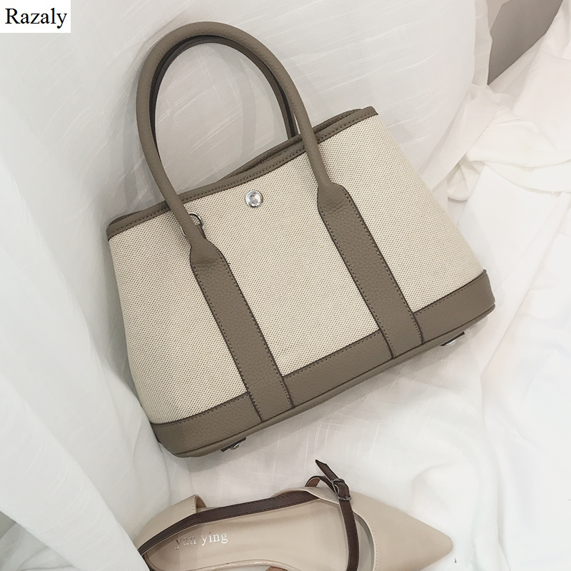 Razaly brand high quality large canvas tote ladies leather handle shopping bags vintage shoulder garden handbag