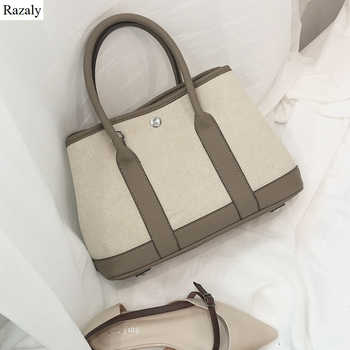 Razaly brand high quality large canvas tote ladies leather handle shopping bags vintage shoulder garden handbag bucket bolsa bao - DISCOUNT ITEM  18% OFF All Category