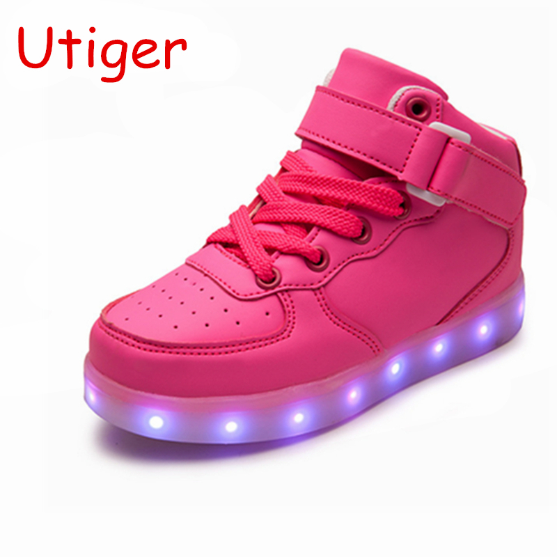 Basket Led Children Shoes With Light Up Kids Casual Shoes Boys Girls Sneakers Glowing Shoes Enfant 25-40 Size/ Usb Charging