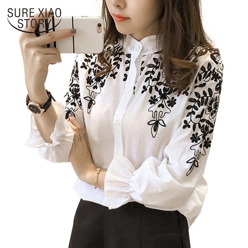 2018 di Modo di Abbigliamento Femminile Del Ricamo Camicetta Camicia di Cotone Coreano Del Fiore Ricamato Magliette e camicette Stile Coreano camicia Fresca 529E 25