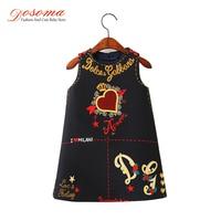 Dosoma Autumn Baby Dress Clothes Brand Princess Kids Dresses For Girls Letter Embroidered Sleeveless Dress Children