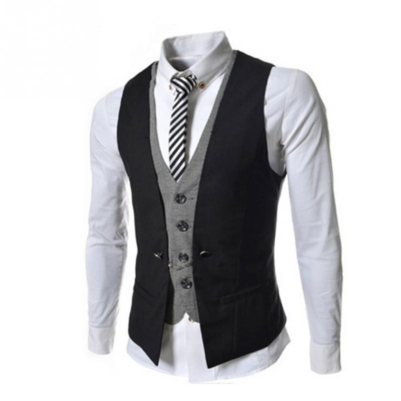 Men Fashion Casual Elegant Sleeveless Solid Cotton+Spandex Slim Leisure Waistcoat